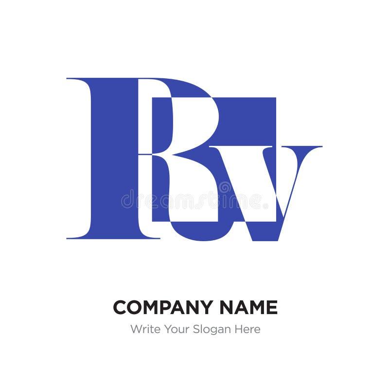 Abstract letter Rv logo design template, blue Alphabet initial l vector illustration