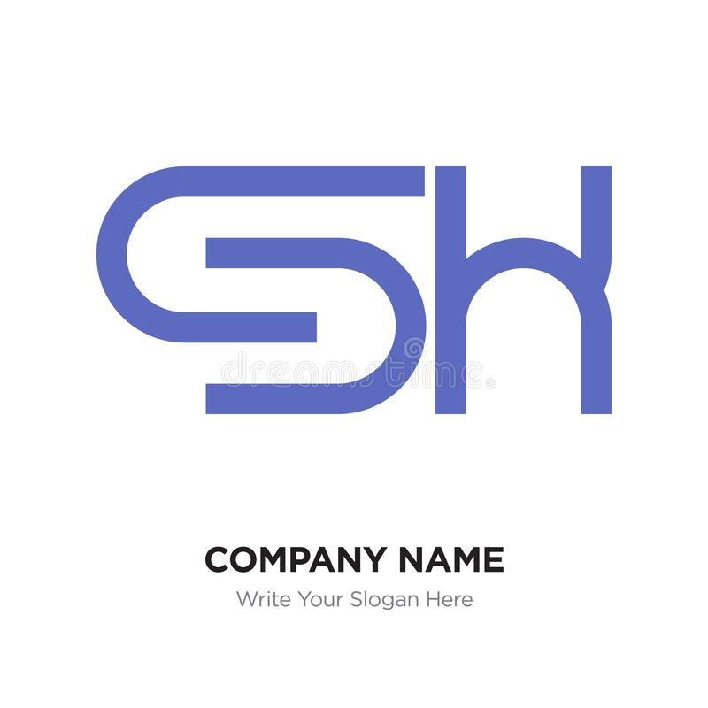 Abstract letter Sh logo design template, purple Alphabet initial royalty free illustration