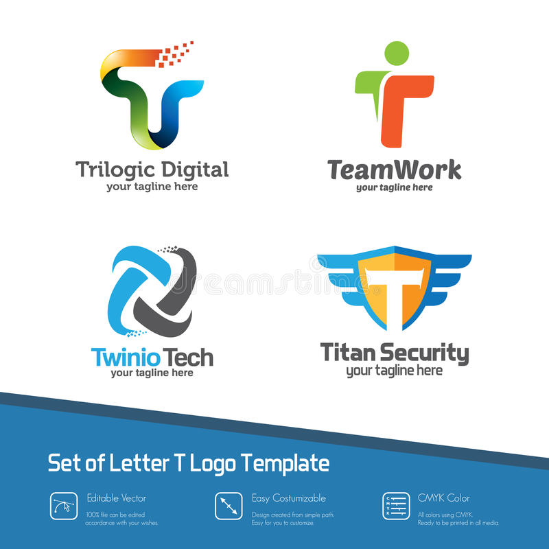 Abstract letter T logo set. Simple, colorful and modern design v royalty free illustration