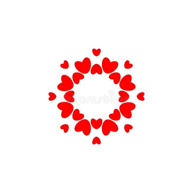 Abstract liefdeembleem Cirkel van Harten Kader voor liefdefoto Gelukkig familiesymbool Vector geïsoleerd embleemmalplaatje  royalty-vrije illustratie
