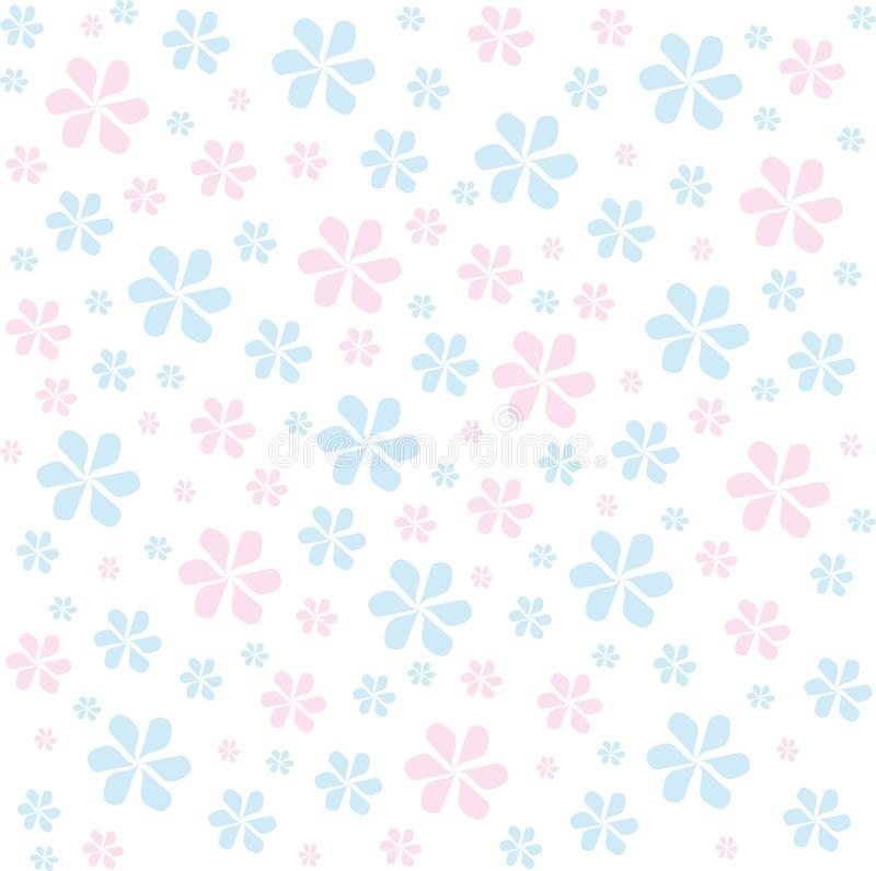 Abstract Light Background With Blue And Pink Flowers On A