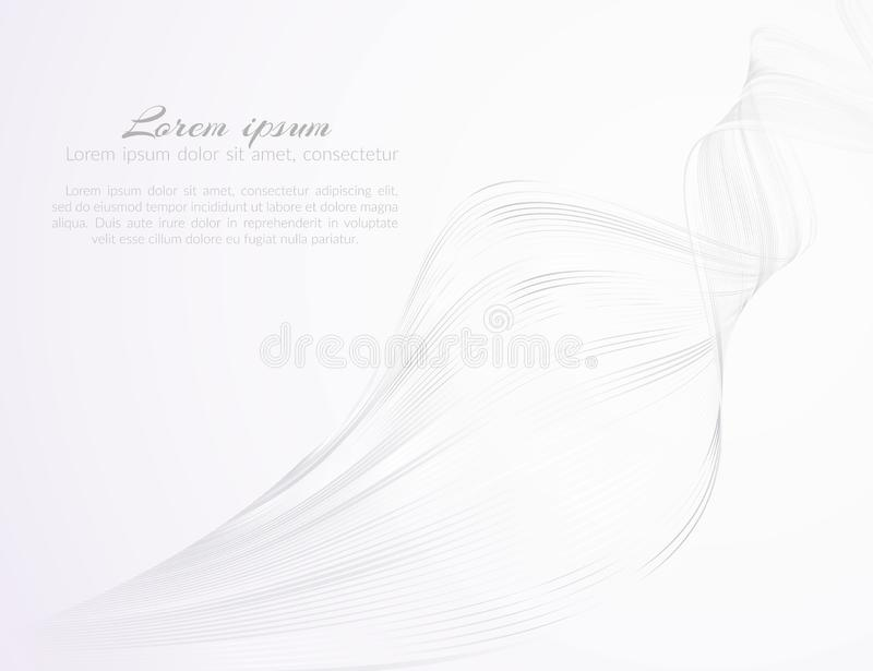 Abstract light beautiful wavy lines on a white background Pattern from the wave lines for the design of advertising template vector illustration