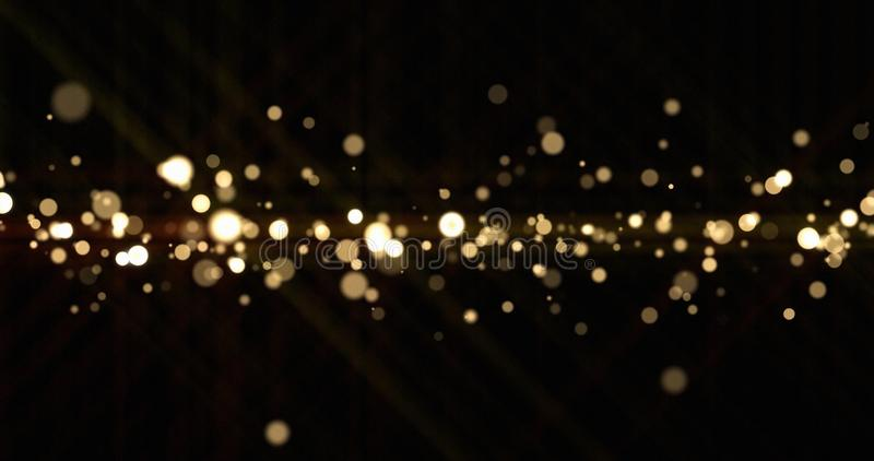 Abstract light bokeh sparks, bright glitter particles or dust shine blur bling. Shiny bright snow effect, shimmering light. And magic glow sparkles, Christmas stock image