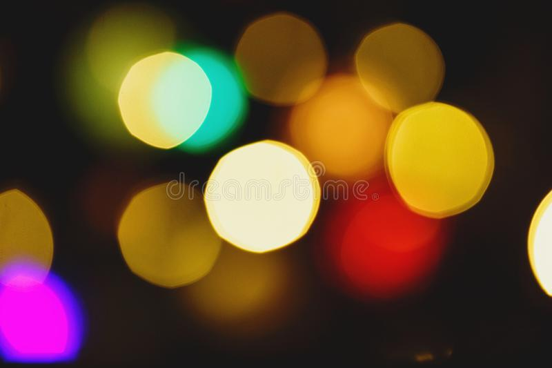 Abstract light celebration background with defocused golden lights for Christmas, New Year, Holiday stock image