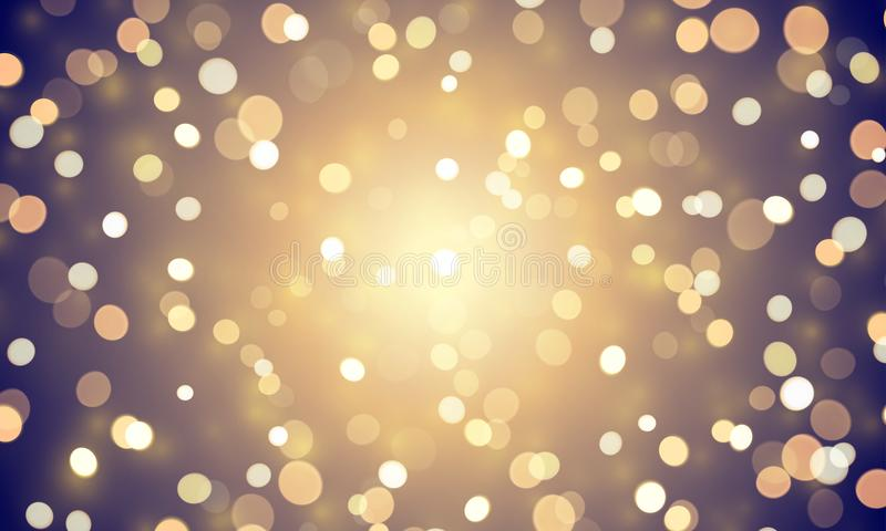 Abstract light confetti with glitter glow effect on golden background. Vector defocused shine or golden and white sparkling lights royalty free illustration
