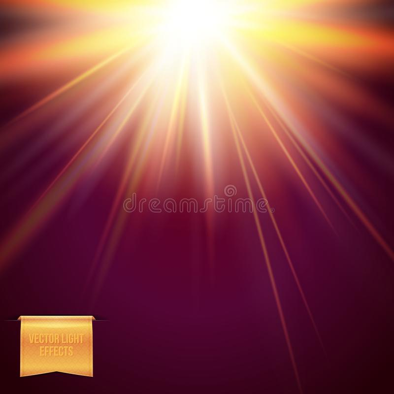 Abstract light effects vector illustration on dark purple background. Glowing warm yellow sun, star burst with flare and radiant light beams stock illustration