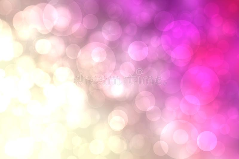 Abstract light golden gradient pink festive bokeh background with glitter sparkle blurred circles, Christmas lights. Beautiful vector illustration
