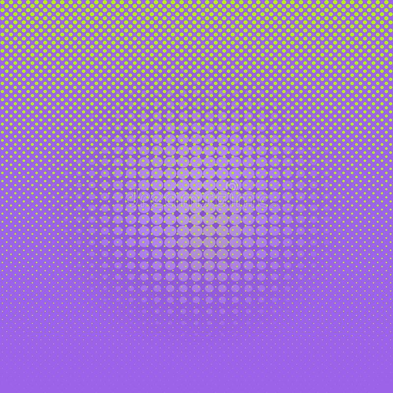 Abstract light green comic halftone dots on violet background. royalty free illustration