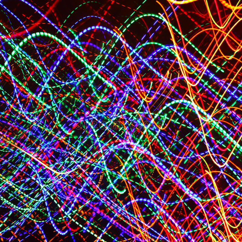 Abstract light painting. Bright city lights royalty free stock photography