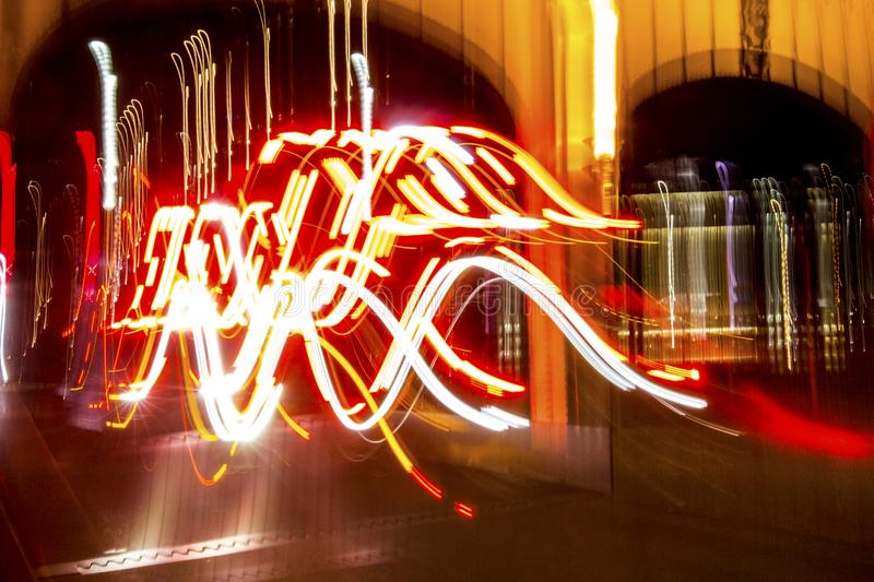 Abstract light painting from traffic movement in Pittsburgh, Pennsylvania. Abstract lights in motion at night from traffic on the Smithfield Street Bridge in royalty free stock photography