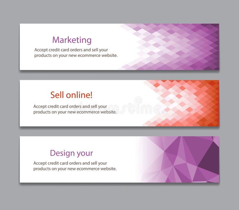 Abstract light purple banner. Set three banner for design vector illustration