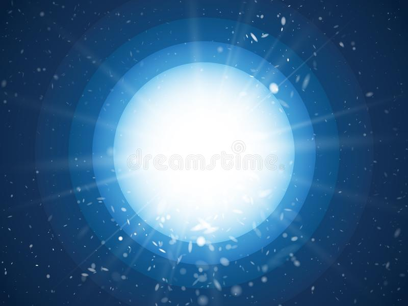 Abstract light rays and dust on blue circle background vector illustration