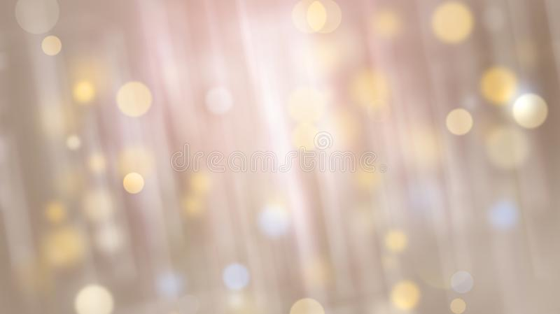 Abstract light shiny background with blur effect, bokeh and stripes particles, 3d rendering backdrop. Abstract light shiny background with blur effect, bokeh and royalty free illustration