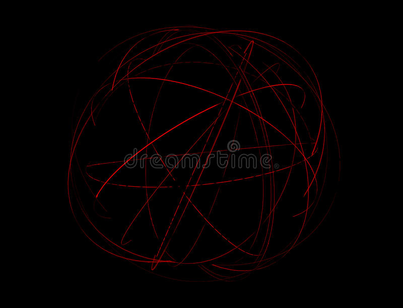 Abstract Light Trails. An abstract globe surrounded by orbiting light trails on a dark space background royalty free illustration