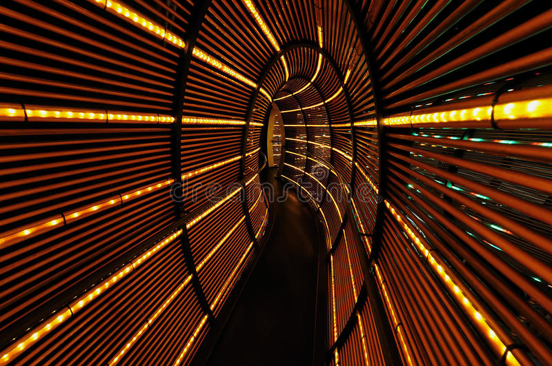 Abstract light tunnel. Abstract tunnel of orange lights stock image