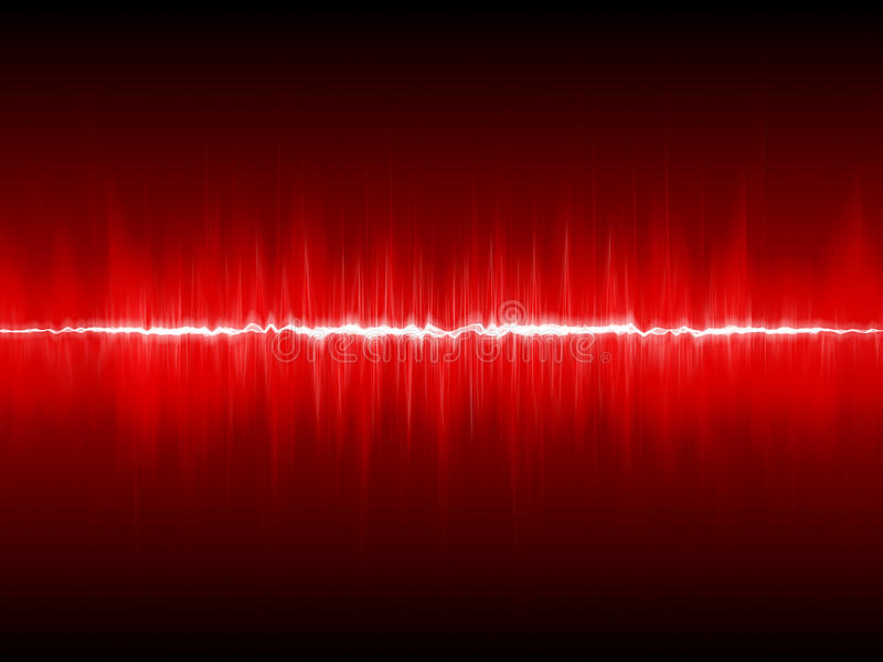 Abstract lightning waveform. Red background vector illustration