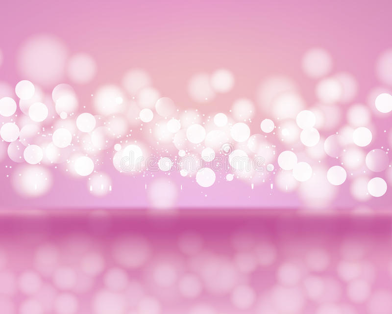 Abstract lights of bokeh on pink background. Blurred defocused lights in light pink colors. Vector Illustration stock illustration