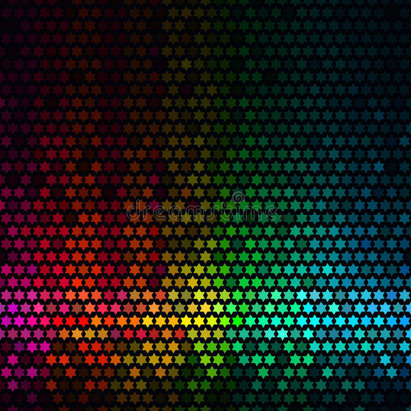 Abstract lights disco background. Multicolor star pixel mosaic royalty free illustration