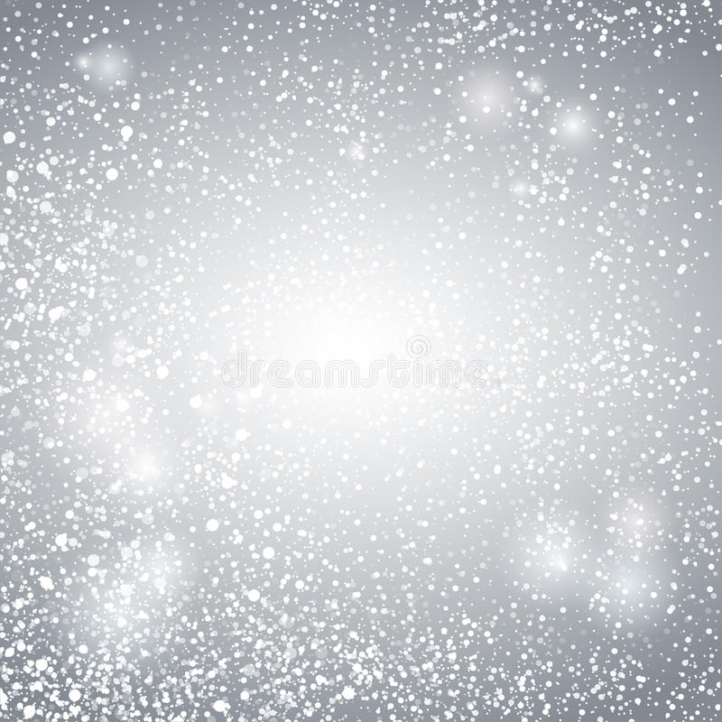 Abstract Lights with Snowflakes on Grey and Silver Background, Vector Illustration royalty free illustration
