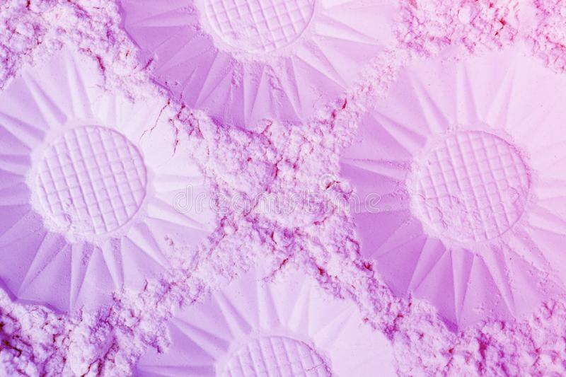 Abstract lilac and blue gradient background made of decorative flower like hemispheres.  stock photography