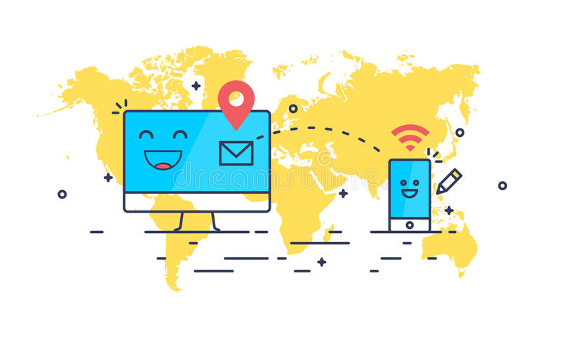 Abstract line art mail sending. Composition. Computer and smartphone receiving message. Simple design world map on the background vector illustration
