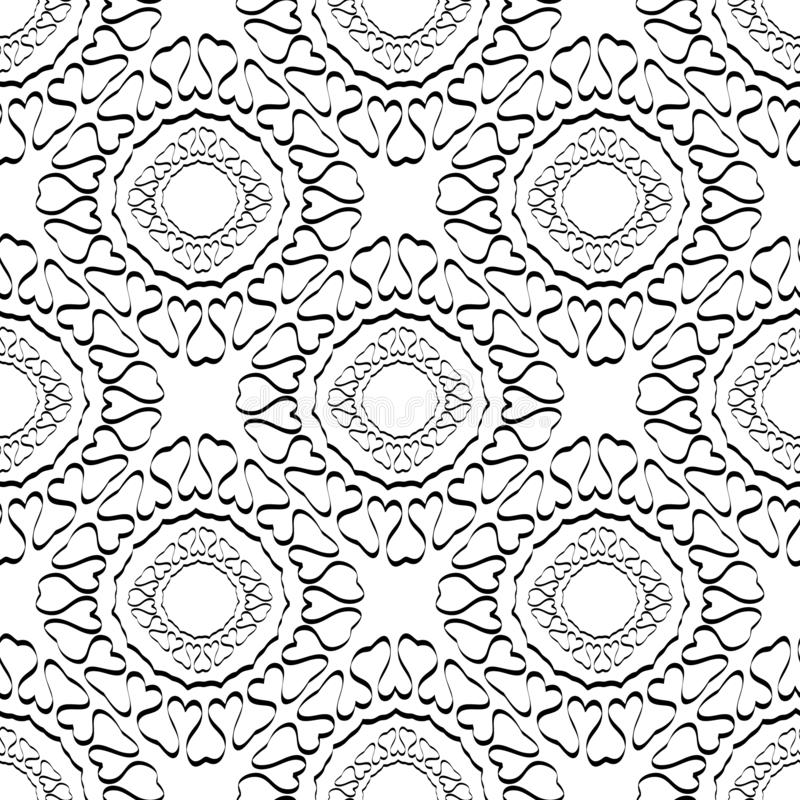 Abstract line art tracery black and white vector seamless pattern. Vintage style ornamental beautiful background. Hand drawn vector illustration