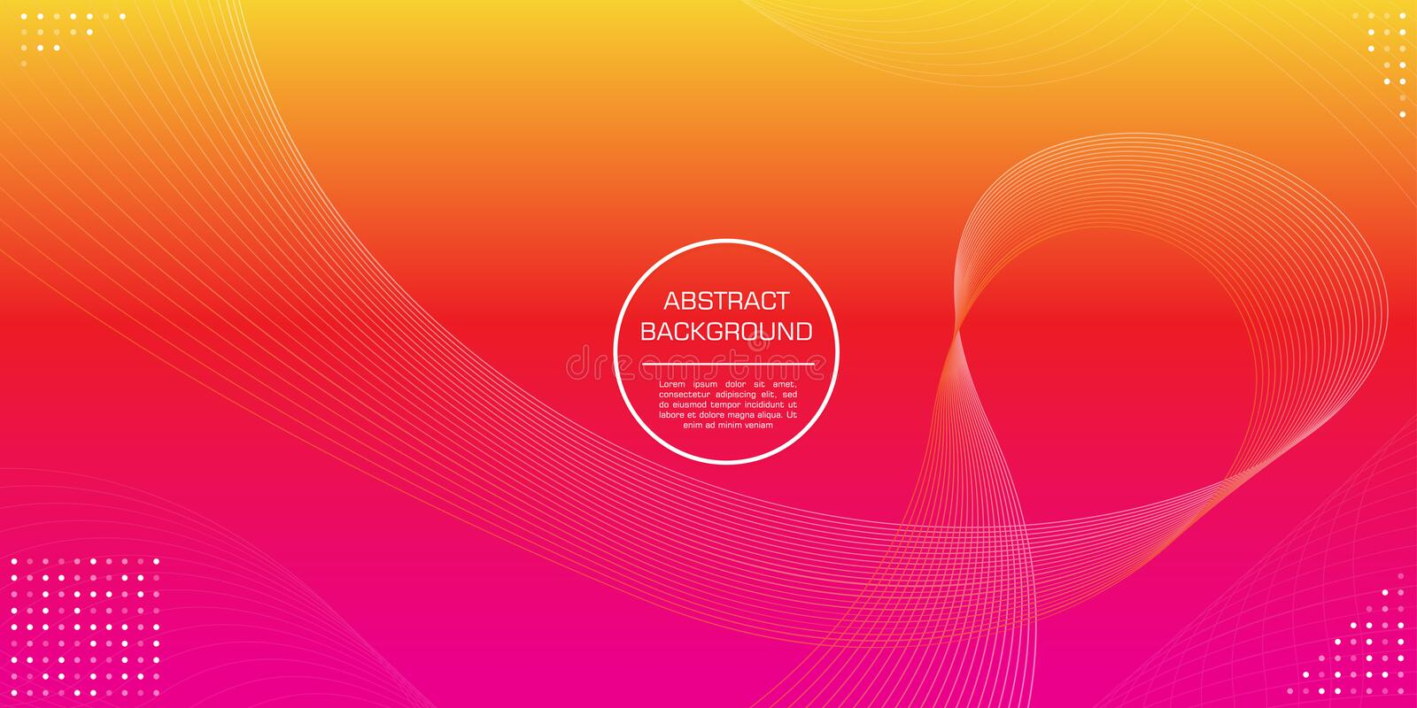 Abstract line gradation yellow magenta color with circle element background royalty free illustration
