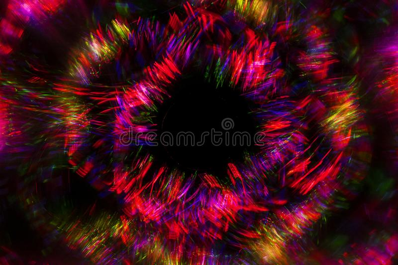 Abstract line from LED light with mirror on the black background royalty free stock image
