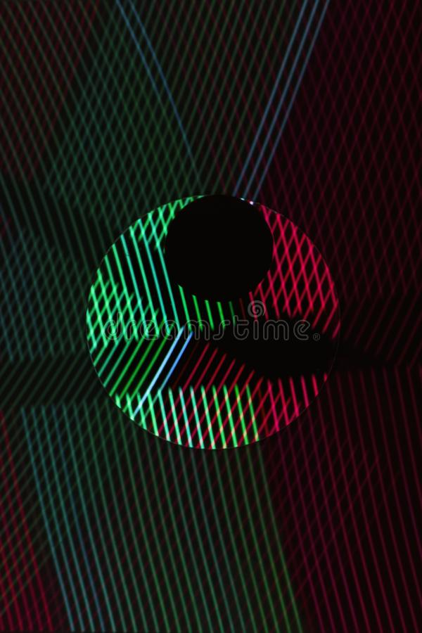 Abstract line from LED light with mirror on the black background royalty free stock photo