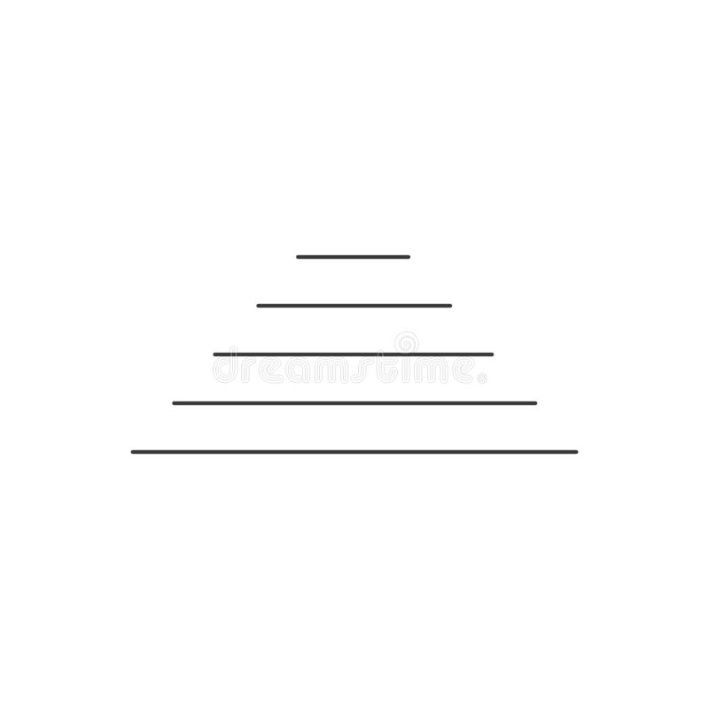 Abstract line Pyramid for infographics. Linear diagram, chart with 6 steps, levels. Vector illustration isolated on white royalty free illustration
