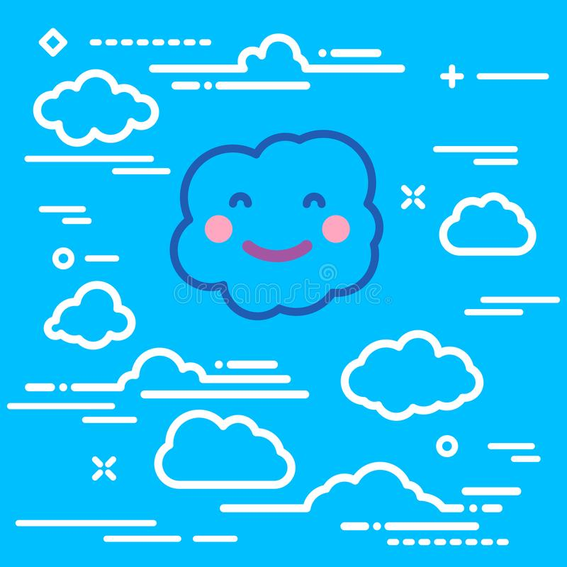 Abstract linear baby shower banner with sun rays and happy smile white paper cloud on blue background stock illustration