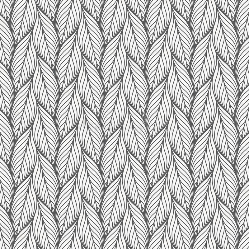 Abstract linear leaves vector pattern, repeating small skeleton leaf, clean stylish vector for background. Wallpaper, fabric. pattern is on swatches panel royalty free illustration