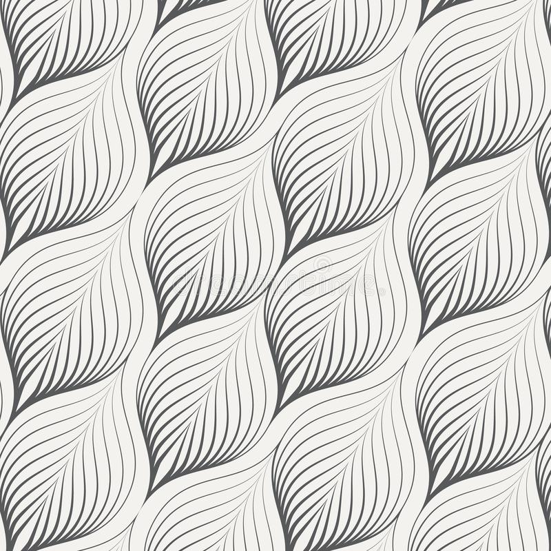 Abstract linear leaves vector pattern, repeating small skeleton leaf, clean stylish vector for background, wallpaper, fabric. Pattern is on swatches panel vector illustration