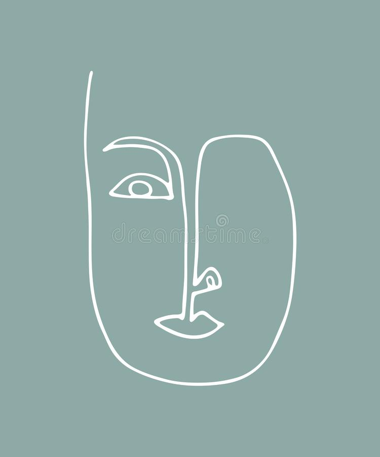 Abstract linear silhouette of human face. Modern avant- garde poster. Trendy minimalistic face. vector illustration