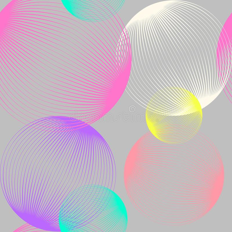 Abstract linear spheres seamless pattern. Colorful repeatable modern design with bubbles. Geometric circles background. royalty free illustration