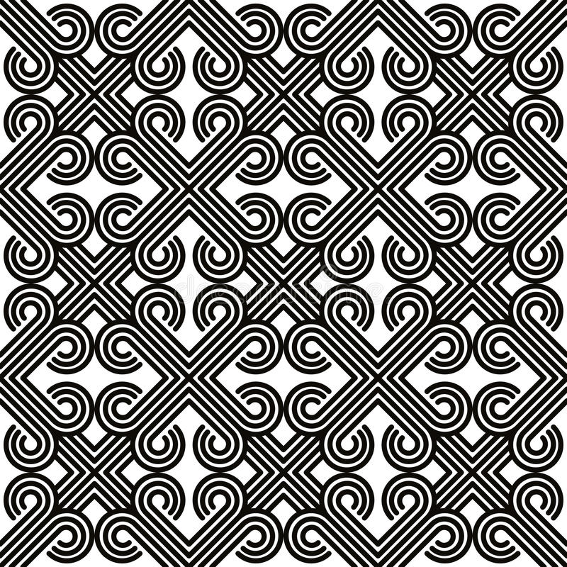Abstract lines black and white seamless pattern, vector background. royalty free illustration