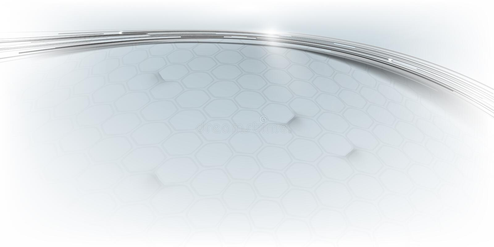 Abstract lines curve and hexagons pattern futuristic digital hi tech background. Illustration vector stock illustration