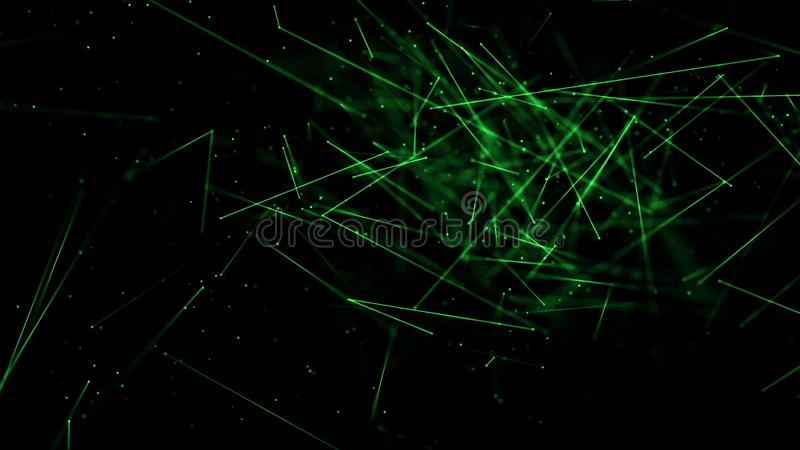 Abstract lines glow with depth of field green stock illustration