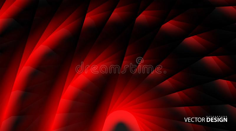Abstract lines glow red in a twisted dark shiny motion. abstract vector technology background royalty free illustration