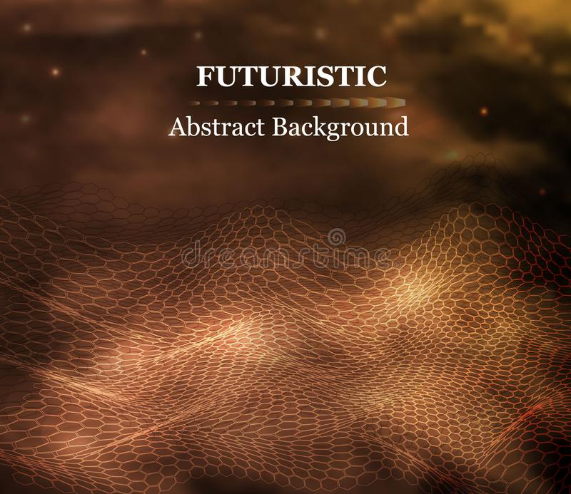 Abstract lines, hexagon style 3D waves in gold tones. the concept of 3d landscape , digital technology in the style of realism. Abstract futuristic hexagon vector illustration