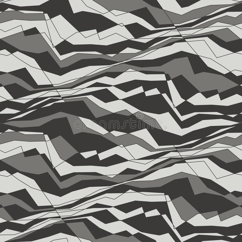 Abstract lines and waves seamless pattern. Random angles and monochrome lines. Minimalistic grey mosaic background. Decorative backdrop, textile, wallpaper royalty free illustration