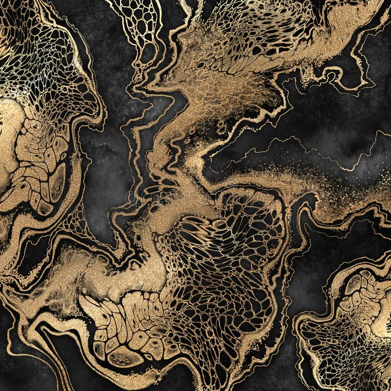 Abstract liquid acrylic painting, gold veins on black background, creative watercolor wallpaper, marbling illustration stock illustration