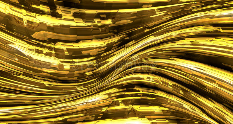Abstract liquid gold metal background royalty free illustration
