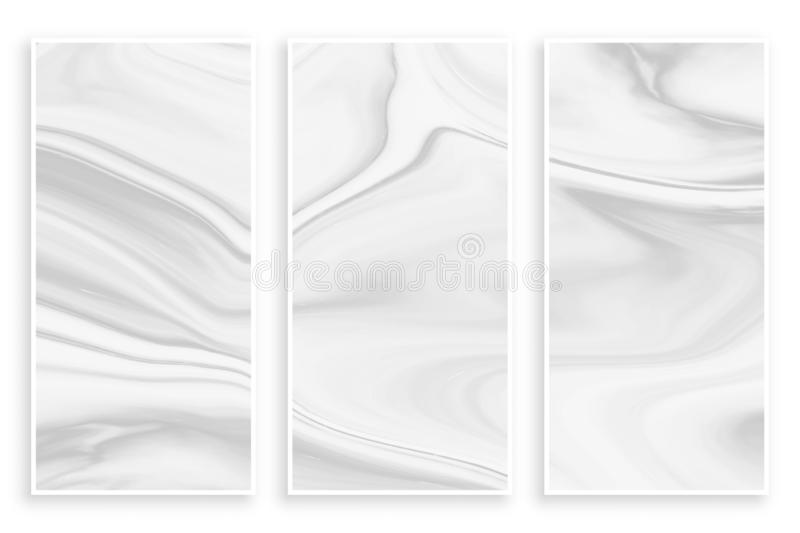 Abstract liquid marble effect empty white banners. Vector royalty free illustration