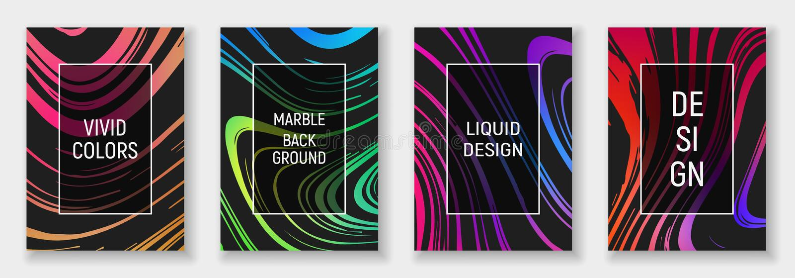 A4 abstract liquid marble illustration set. Vivid colors on black background. Vector design layout for banners stock illustration