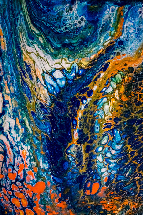 Abstract liquid painting with cells, blue stock images