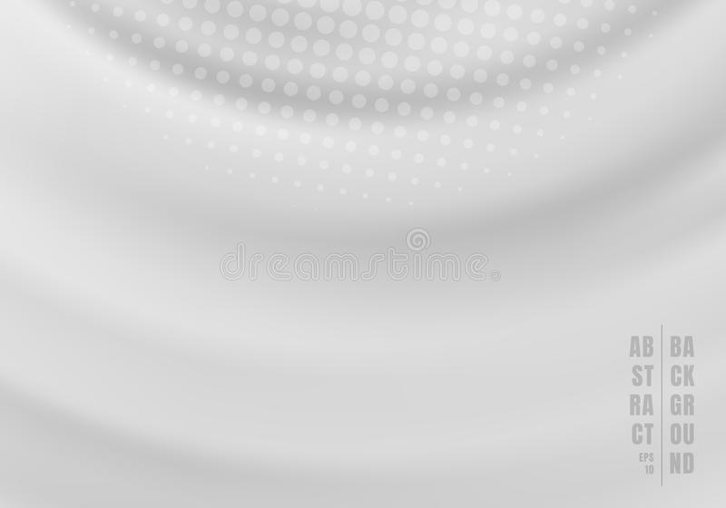 Abstract liquid rotate swirling rippled gray background with radial halftone. Vector illustration stock illustration
