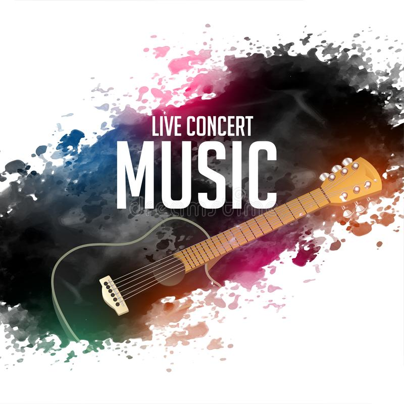 Abstract live concert music background with guitar vector illustration