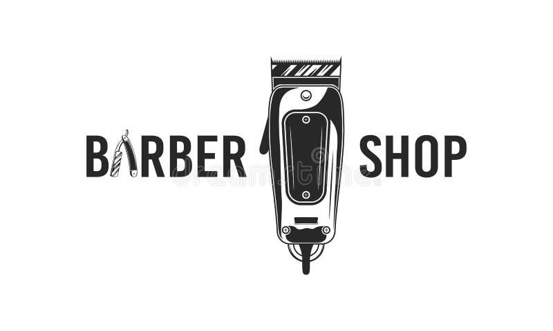 Abstract logo Barber shop of poster Logo van de Barbershop met scheermesje en kappersluis Vectorillustratie stock illustratie