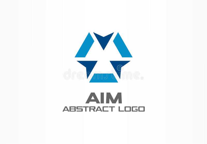 Abstract logo for business company. Corporate identity design element. Camera focus, frame epicenter, gun crosshair royalty free illustration